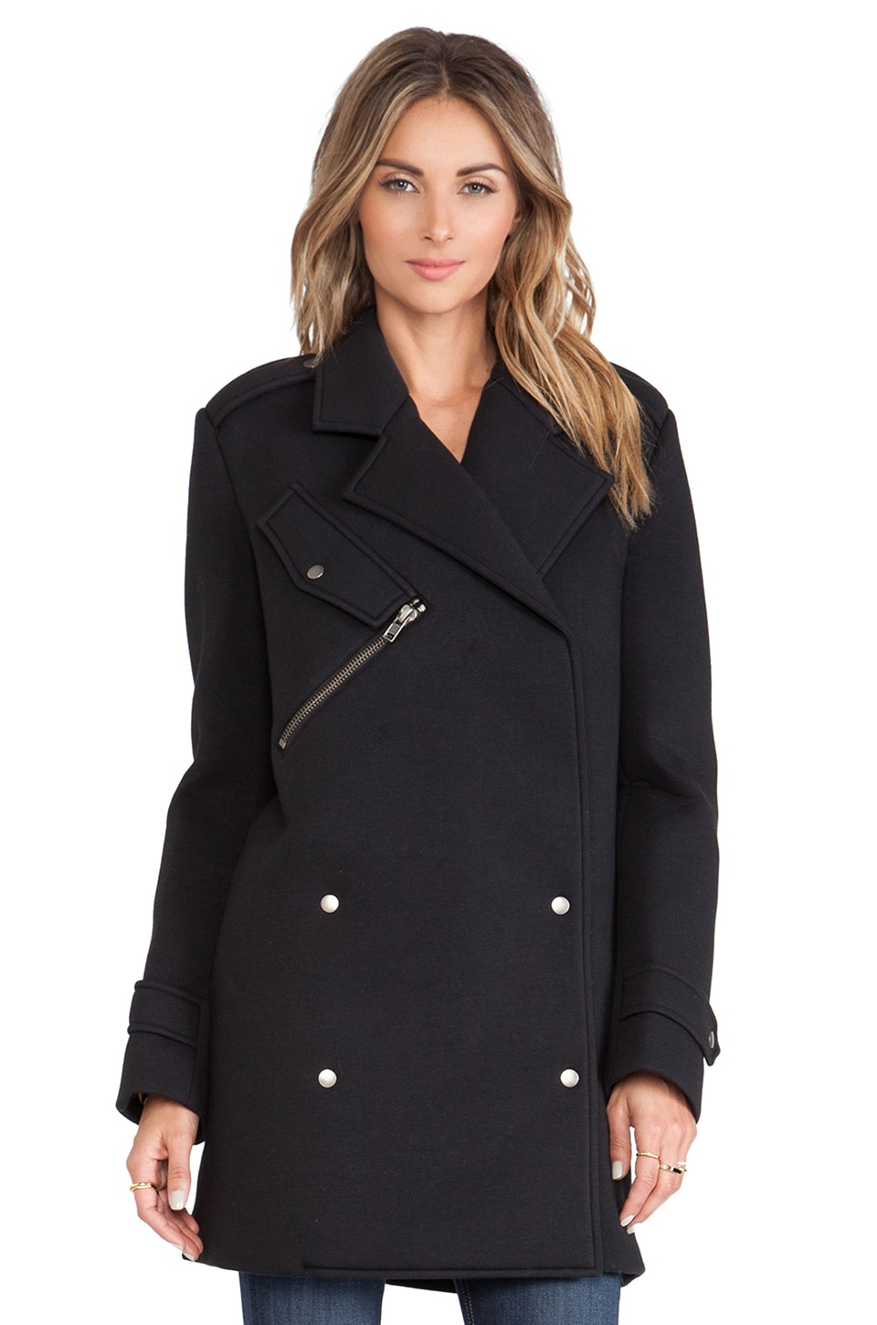 J.O.A. Neoprene Coat in Black