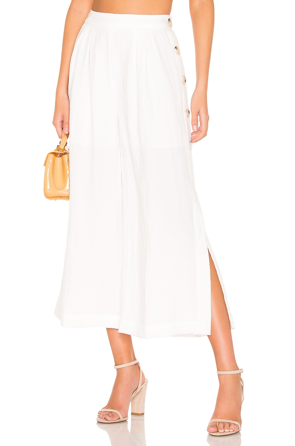 J.O.A. Buttoned Wide Leg Pant in Off White
