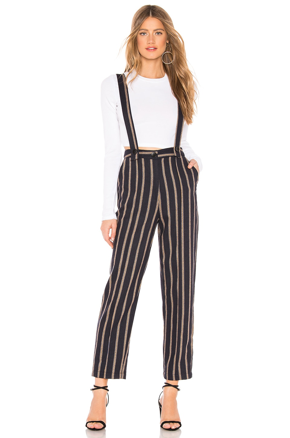 J.O.A. Self Suspender Pant in Navy & Tan Stripe