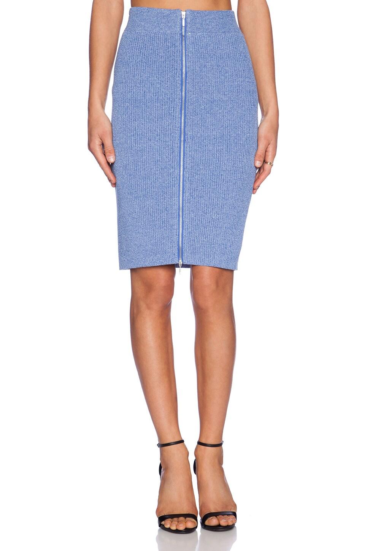 J.O.A. Front Zip Pencil Skirt in Blue Violet