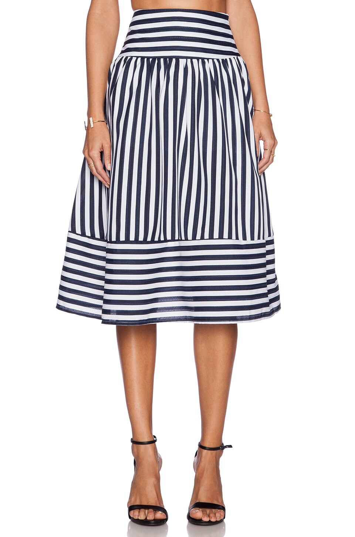 J.O.A. Panel Striped Skirt in Navy Stripe