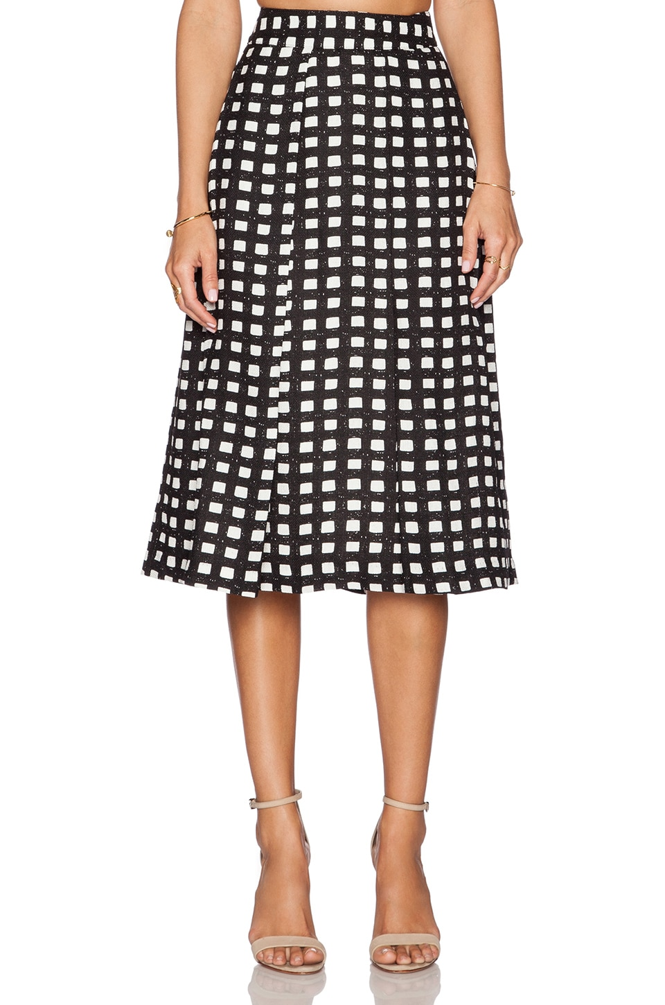 J.O.A. Gingham Midi Skirt in Black & White