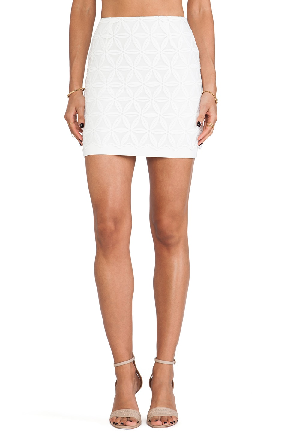 J.O.A. Organza Lace Mini Skirt in White