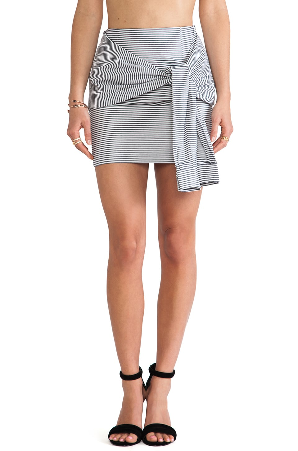J.O.A. Two-Fer Striped Skirt in Navy Stripe