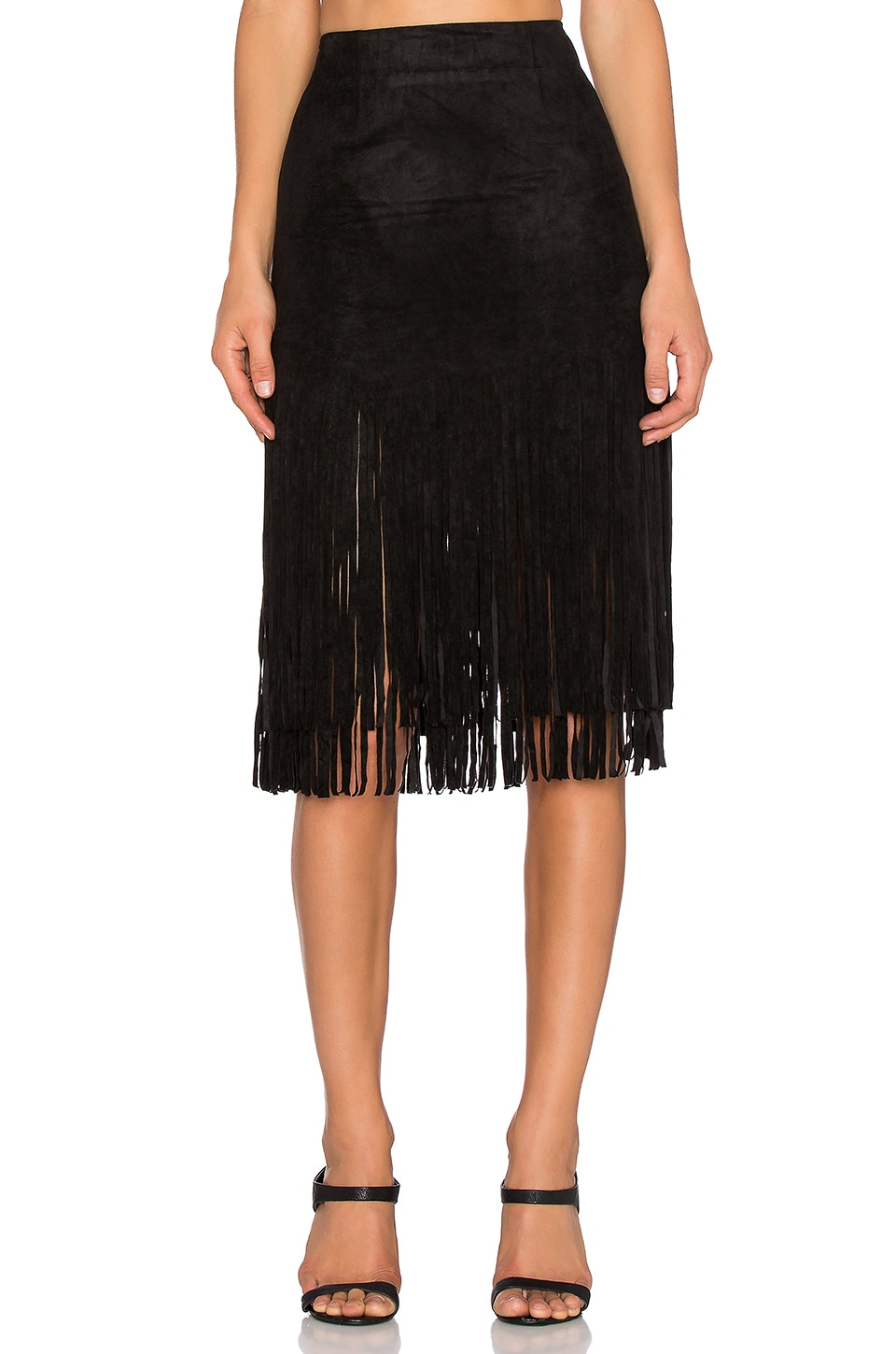 J.O.A. Suede Fringe Skirt in Black