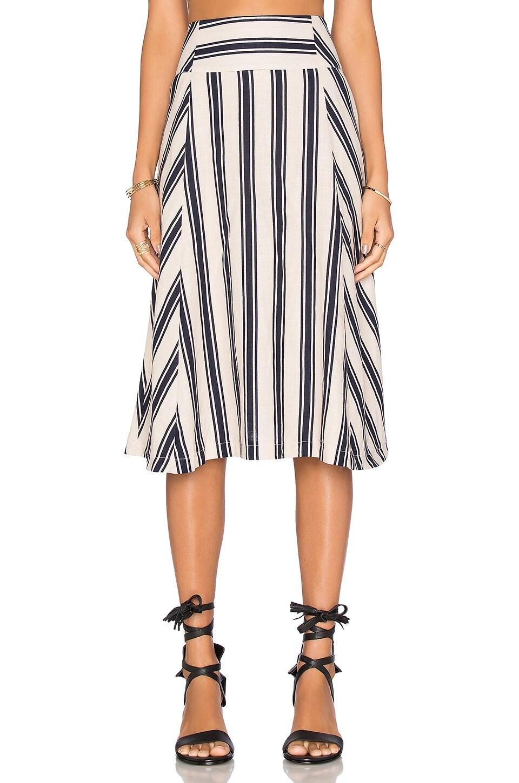 J.O.A. Stripe Midi Skirt in Taupe & Navy