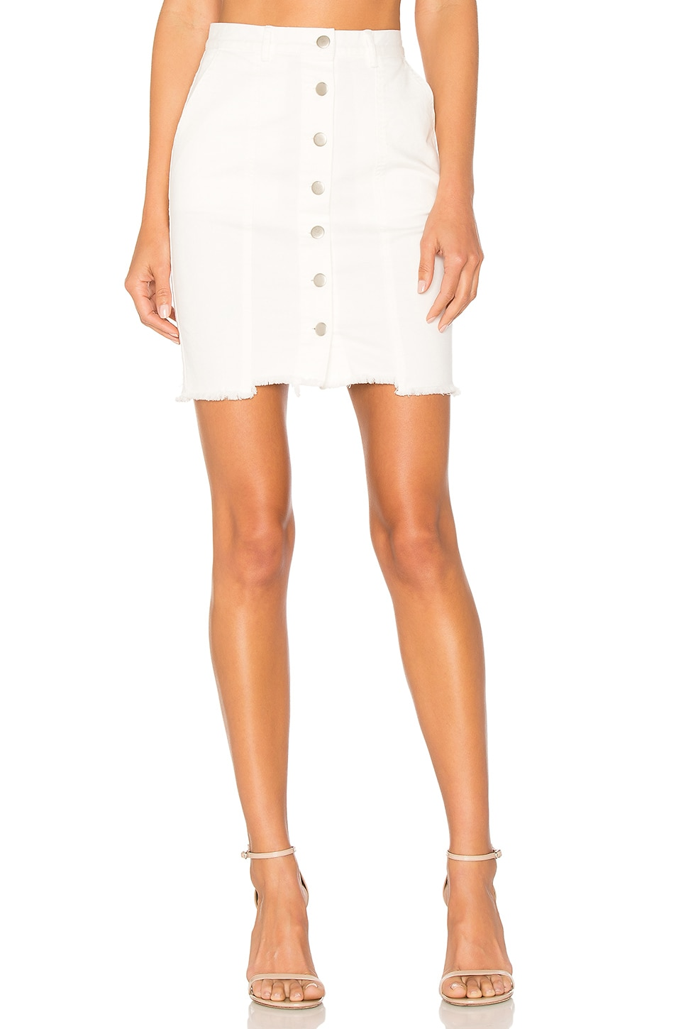J.O.A. Slim Fit Button Down Denim Skirt in White
