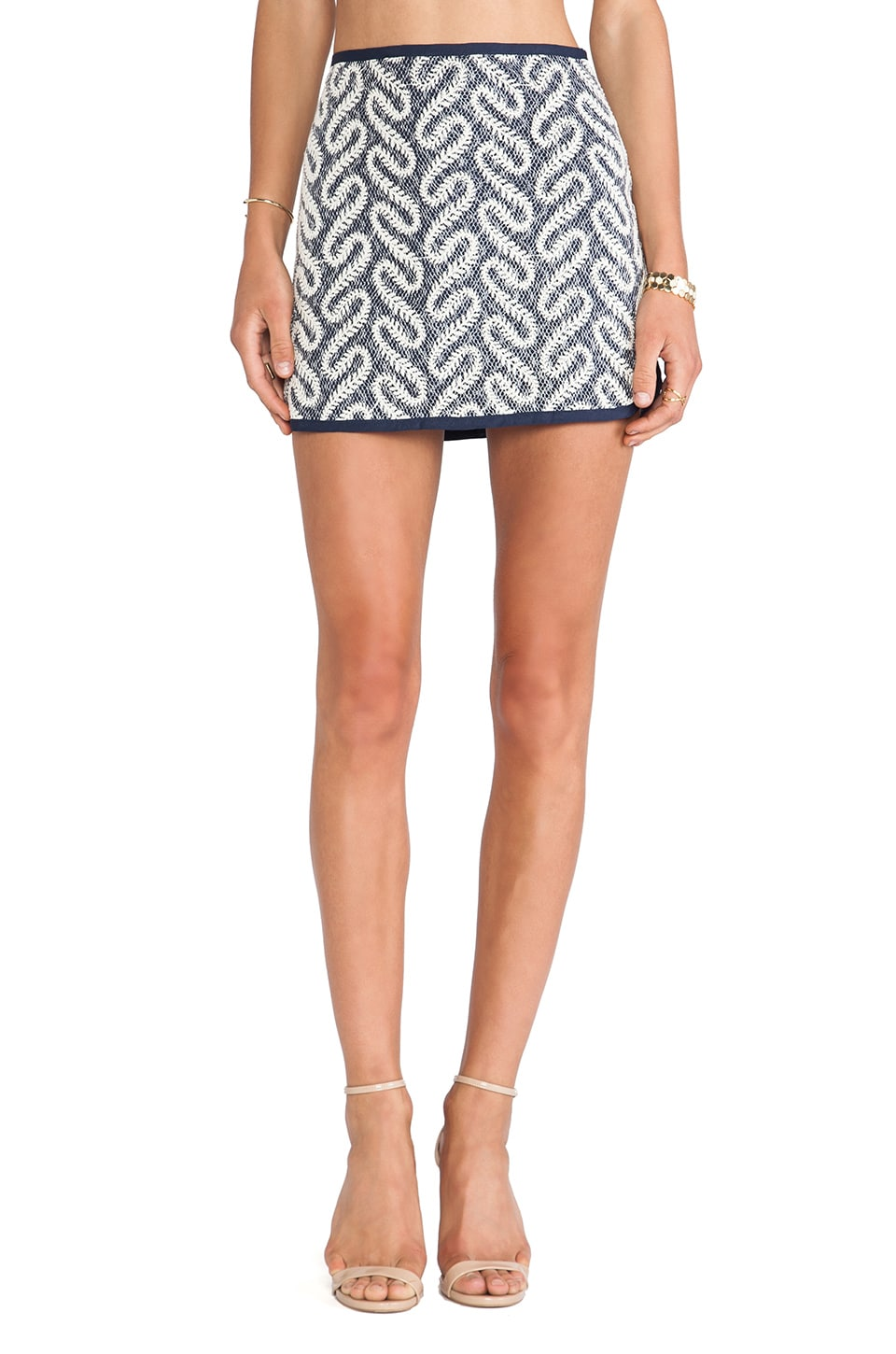 J.O.A. Swirl Printed Round Hem Skirt in Navy