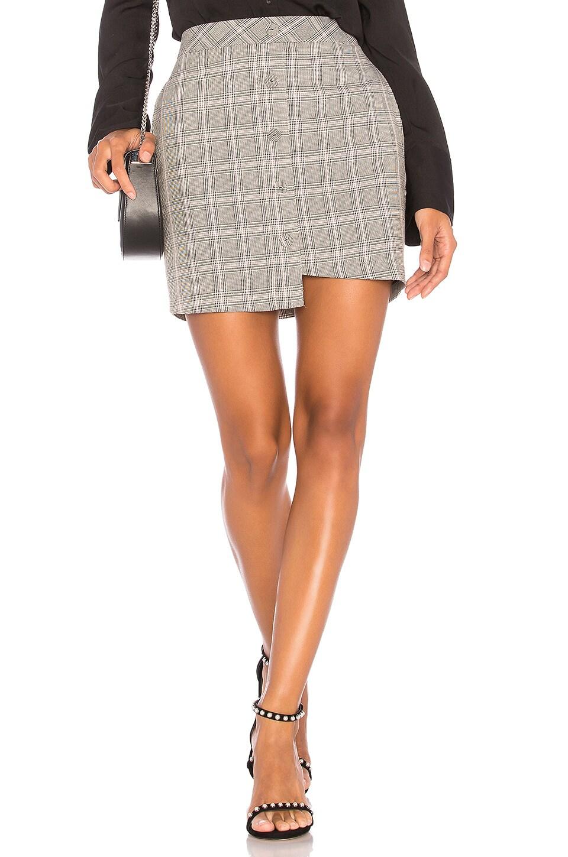 J.O.A. Asymmetric Mini Skirt in Grey Plaid