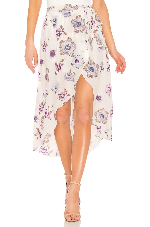 J.O.A. Wrap Skirt in Lavender Floral