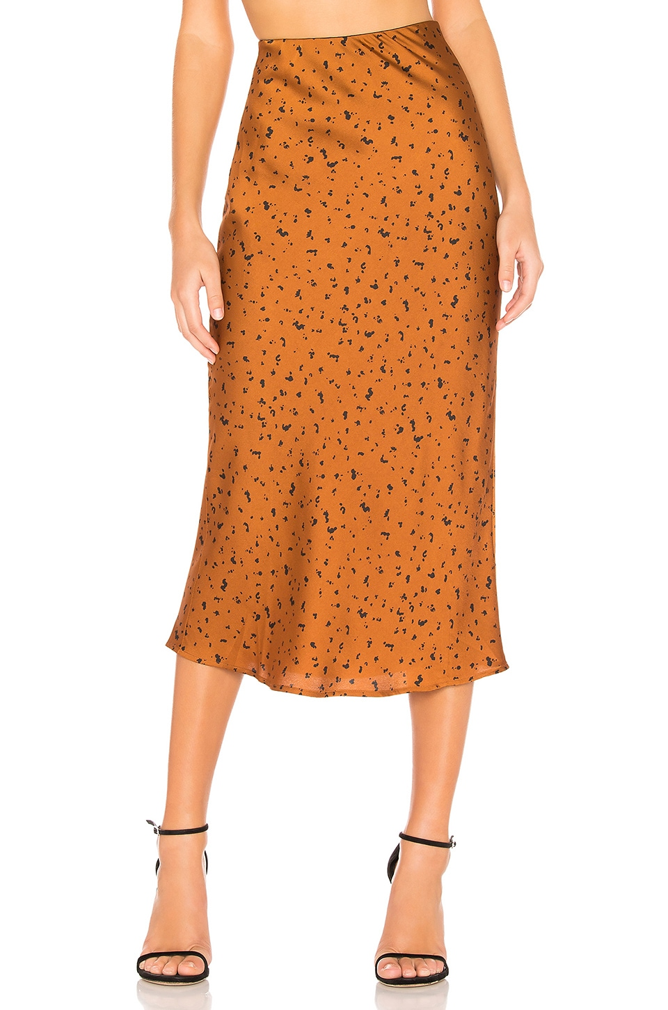J.O.A. Animal Print Midi Skirt in Bronze Dot