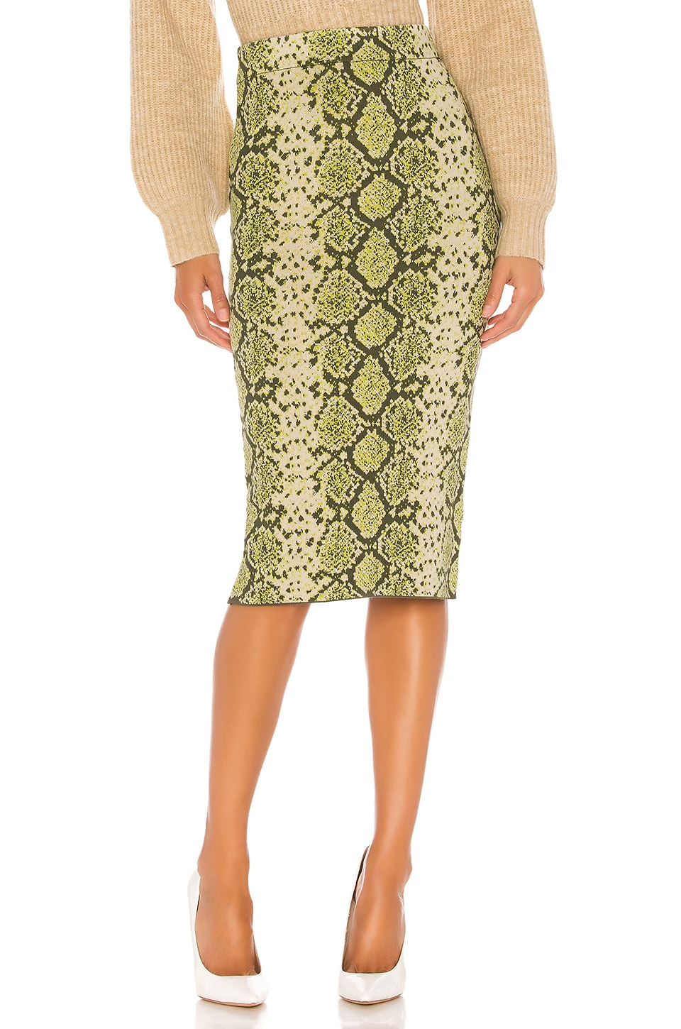 J.O.A. Pencil Sweater Midi Skirt in Snake Print