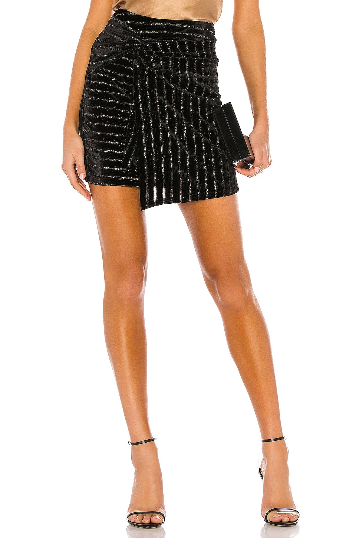 J.O.A. Twist Front Mini Skirt in Black & Silver
