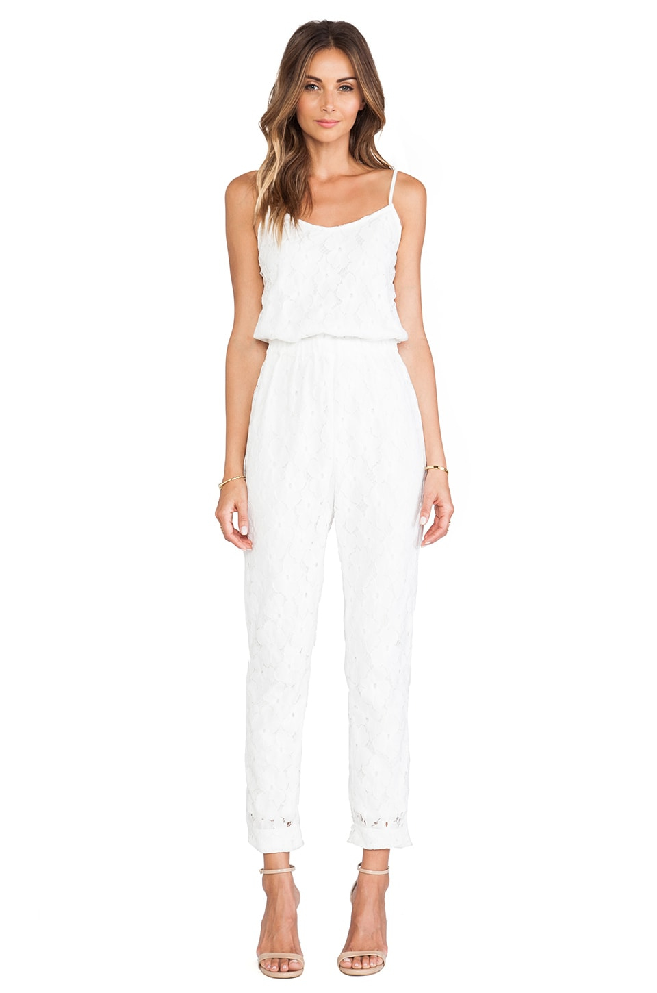 J.O.A. Lace Jumpsuit in Off White | REVOLVE