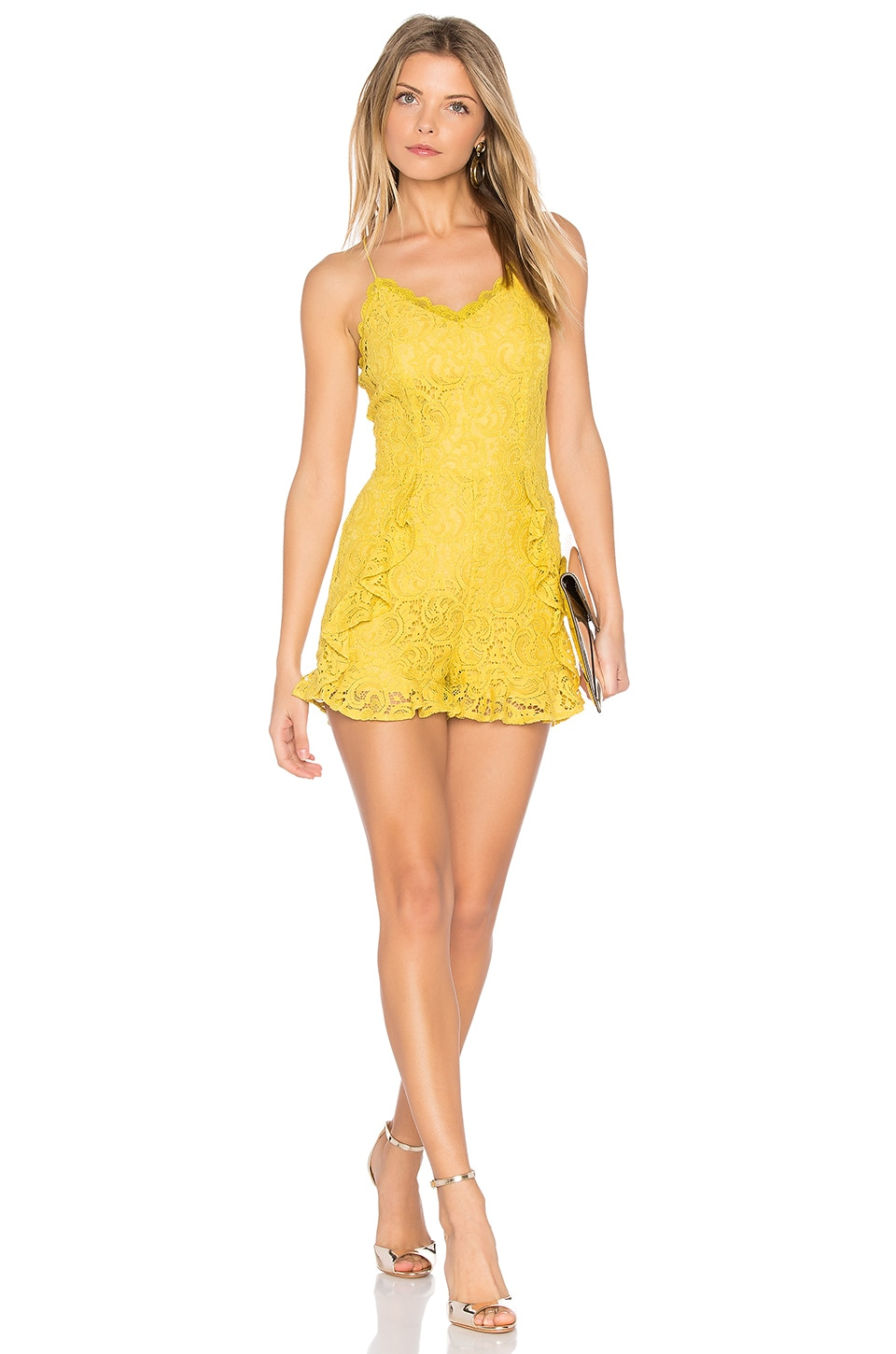 J.O.A. Frill Bottom Detail Lace Romper in Yellow