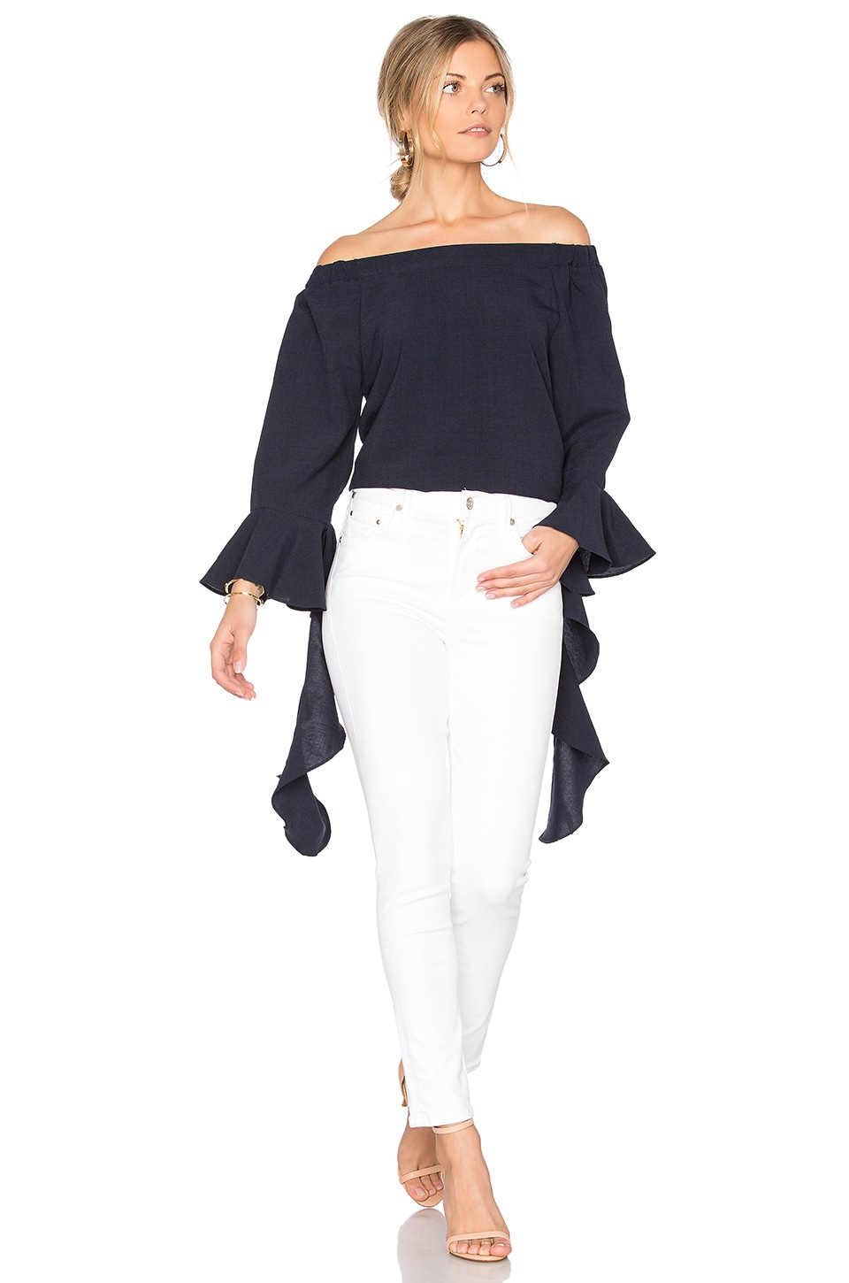J.O.A. Off The Shoulder Flare Sleeve Top in Navy