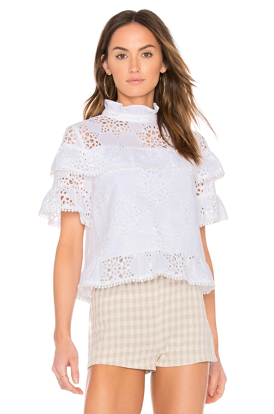 J.O.A. Ruffle Neck Lace Mix Top in White