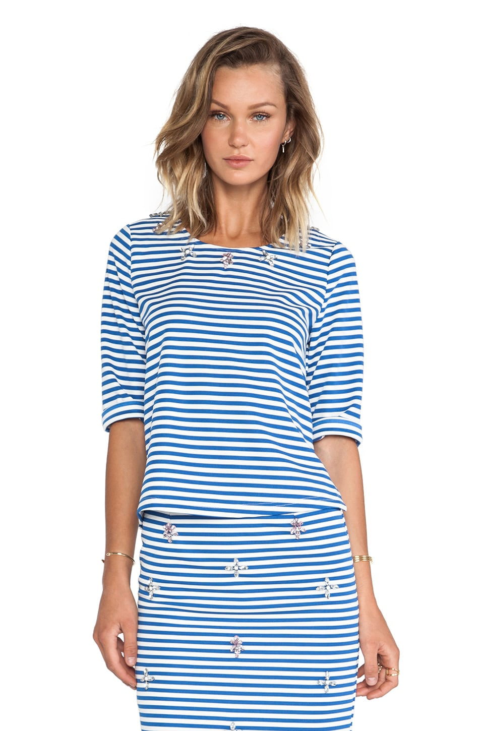 J.O.A. Embellished Top in Blue Striped