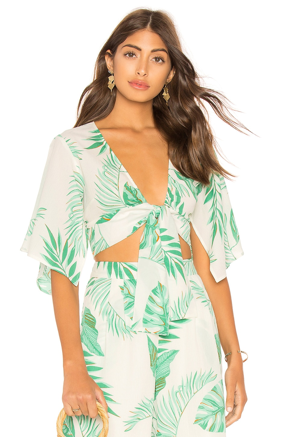 J.O.A. TIE FRONT CROP TOP WITH FLUTTER