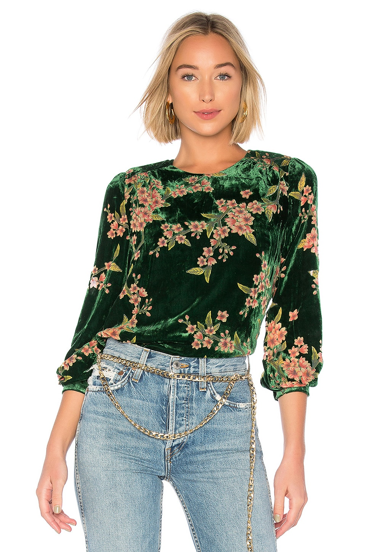 J O A Burn Out Velvet Top In Emerald Floral Revolve