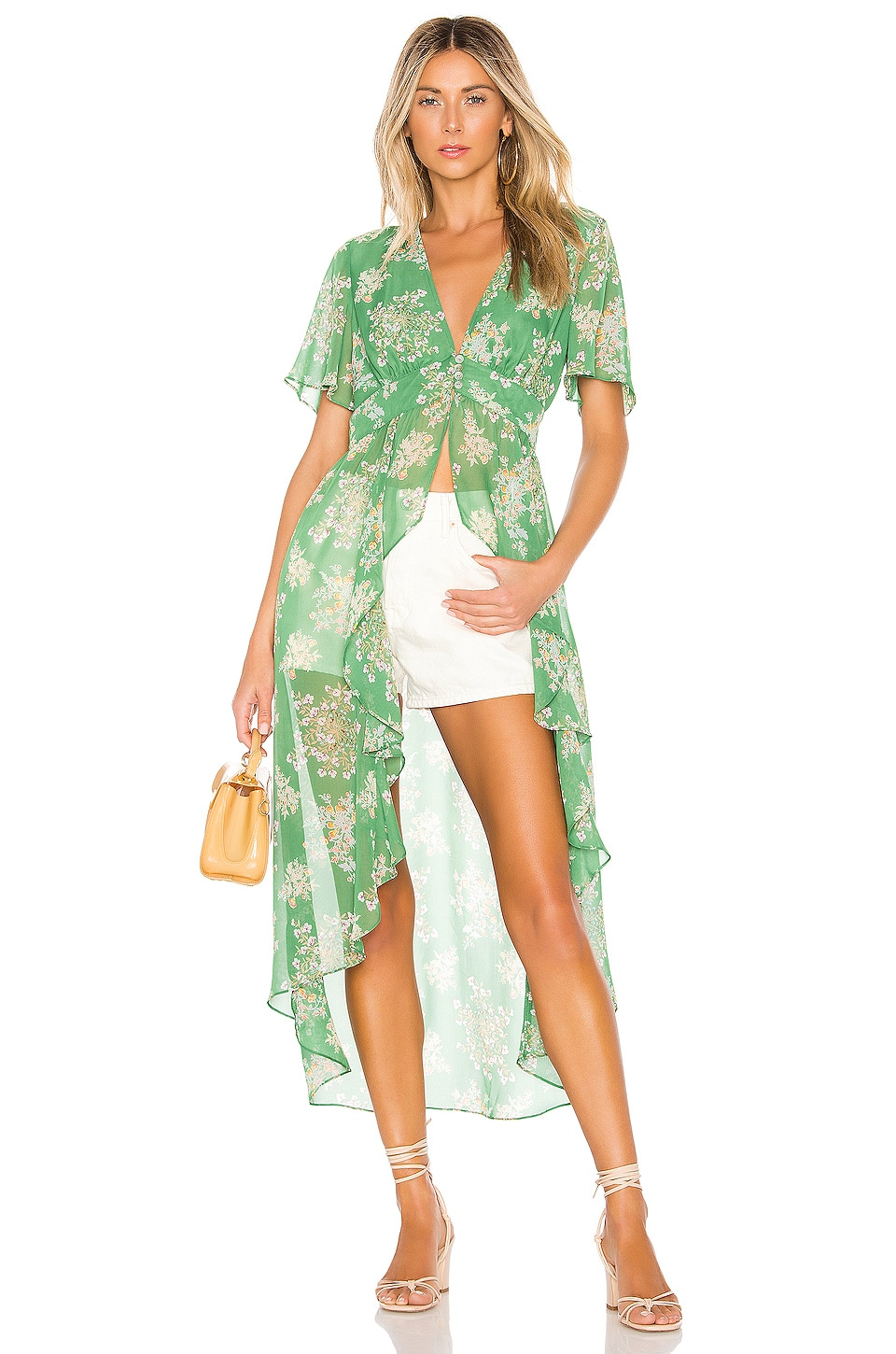 J.O.A. Deep V Duster Blouse in Green Floral