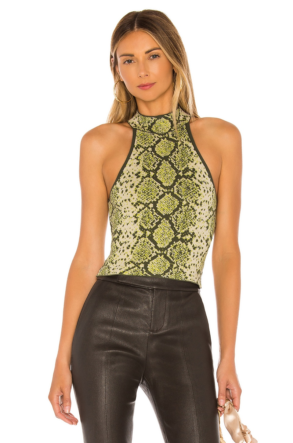 J.O.A. Halter Neck Sweater Top in Snake Print