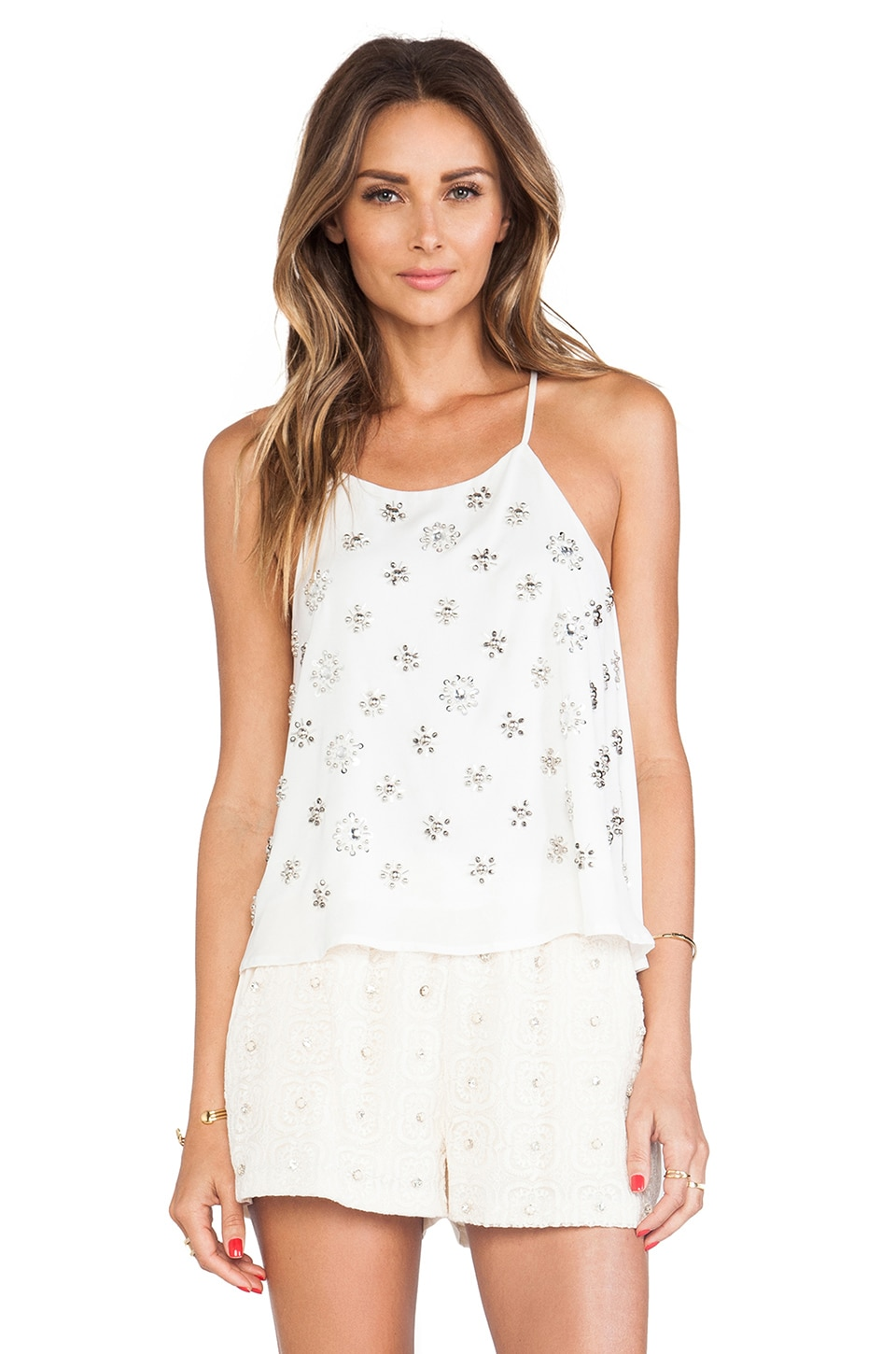 J.O.A. Embellished Cami Top in Off White