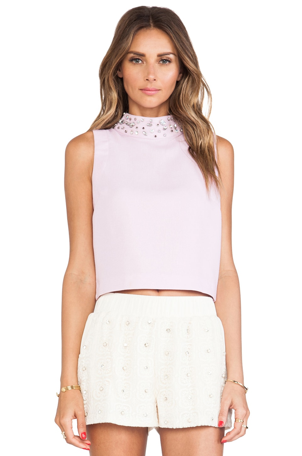 J.O.A. Embellished High Collar Sleeveless Cropped Top in Lilac