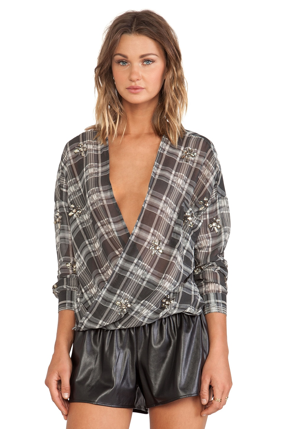 J.O.A. Loose Checked Blouse in Deep Grey