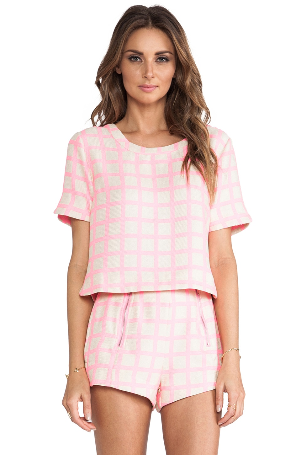 J.O.A. Pink Checked Top in Neon Pink