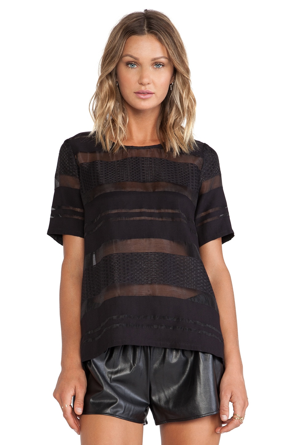 J.O.A. Sheer Striped Short Sleeve Top in Black
