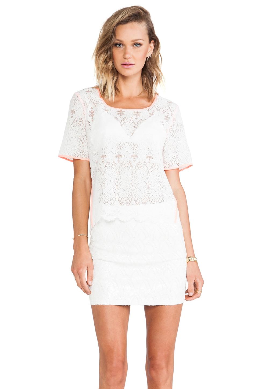 J.O.A. Neon Binding Lace Shirt in White