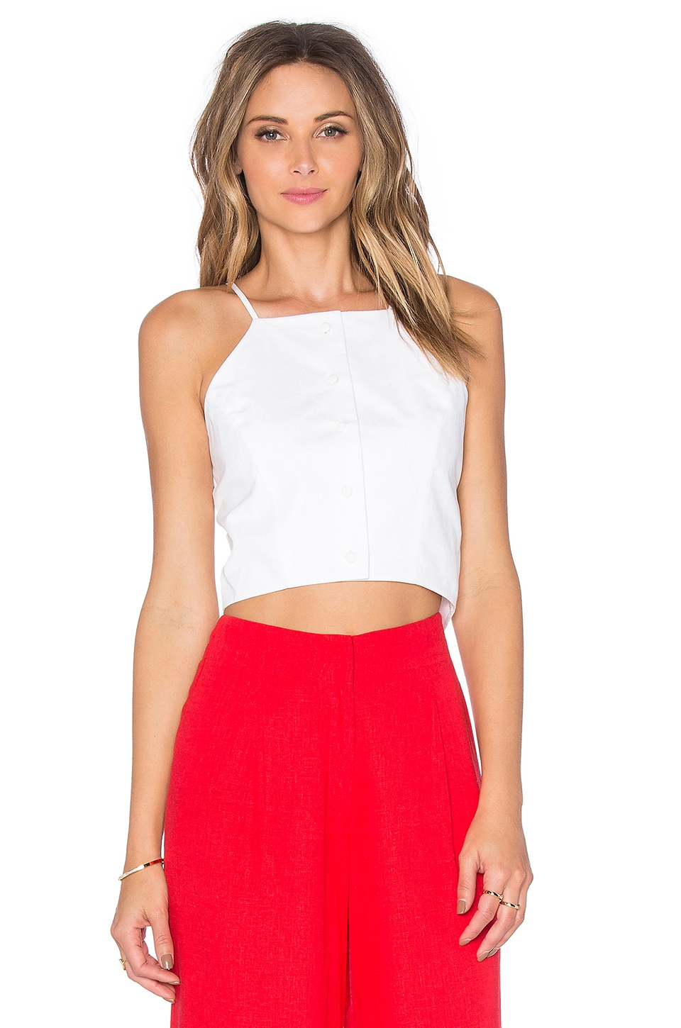 J.O.A. Button Front Crop Top in White