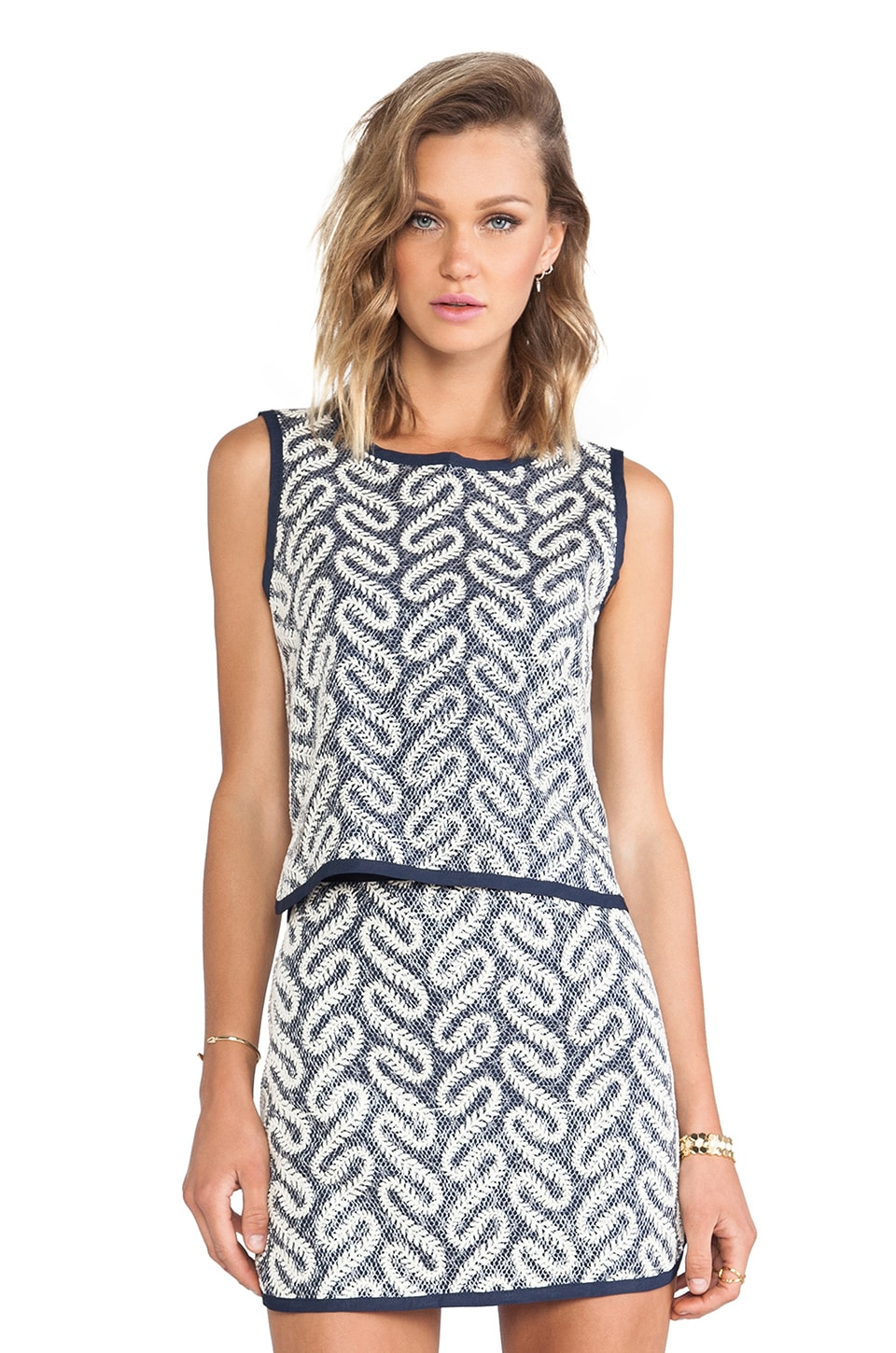 J.O.A. Swirl Printed Tank Top in Navy