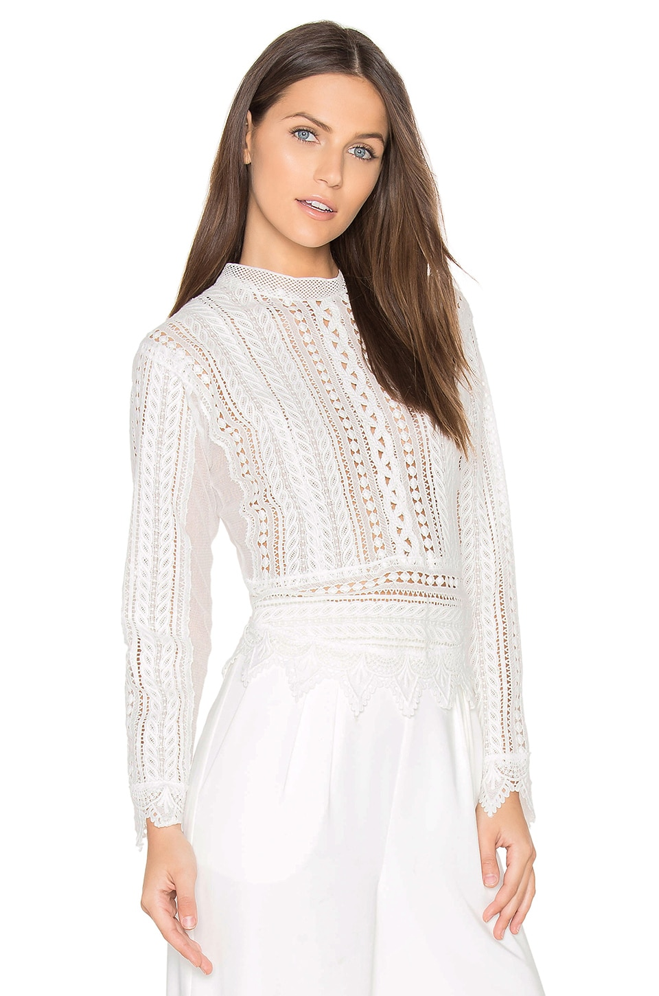 J.O.A. Crochet Top in White