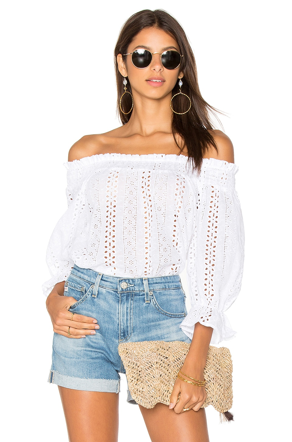 J.O.A. Off Shoulder Eyelet Top in White