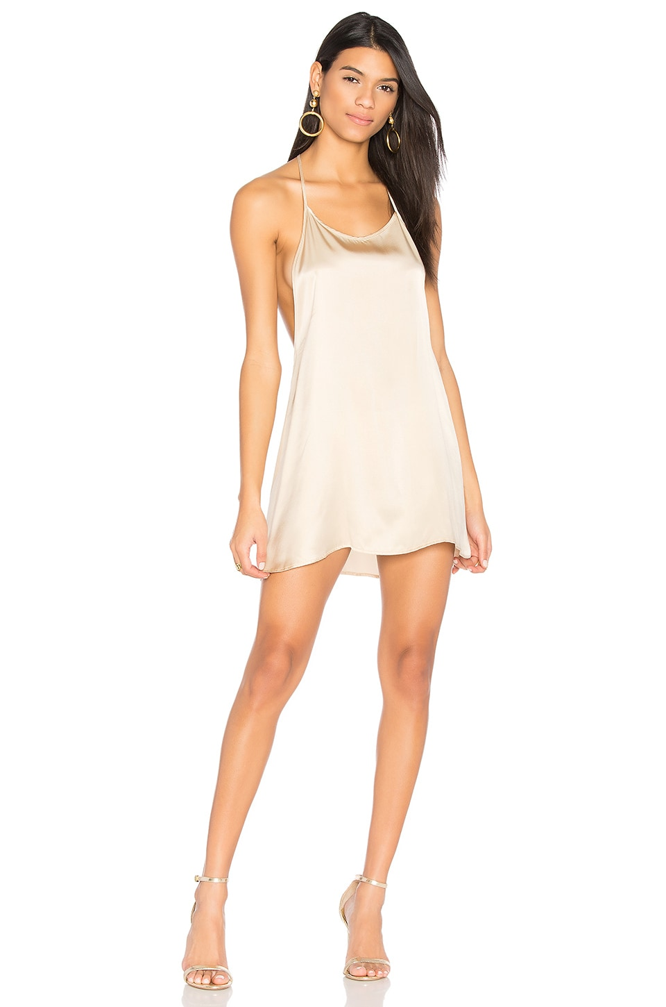 JOAH BROWN Silk T Back Dress in Champagne