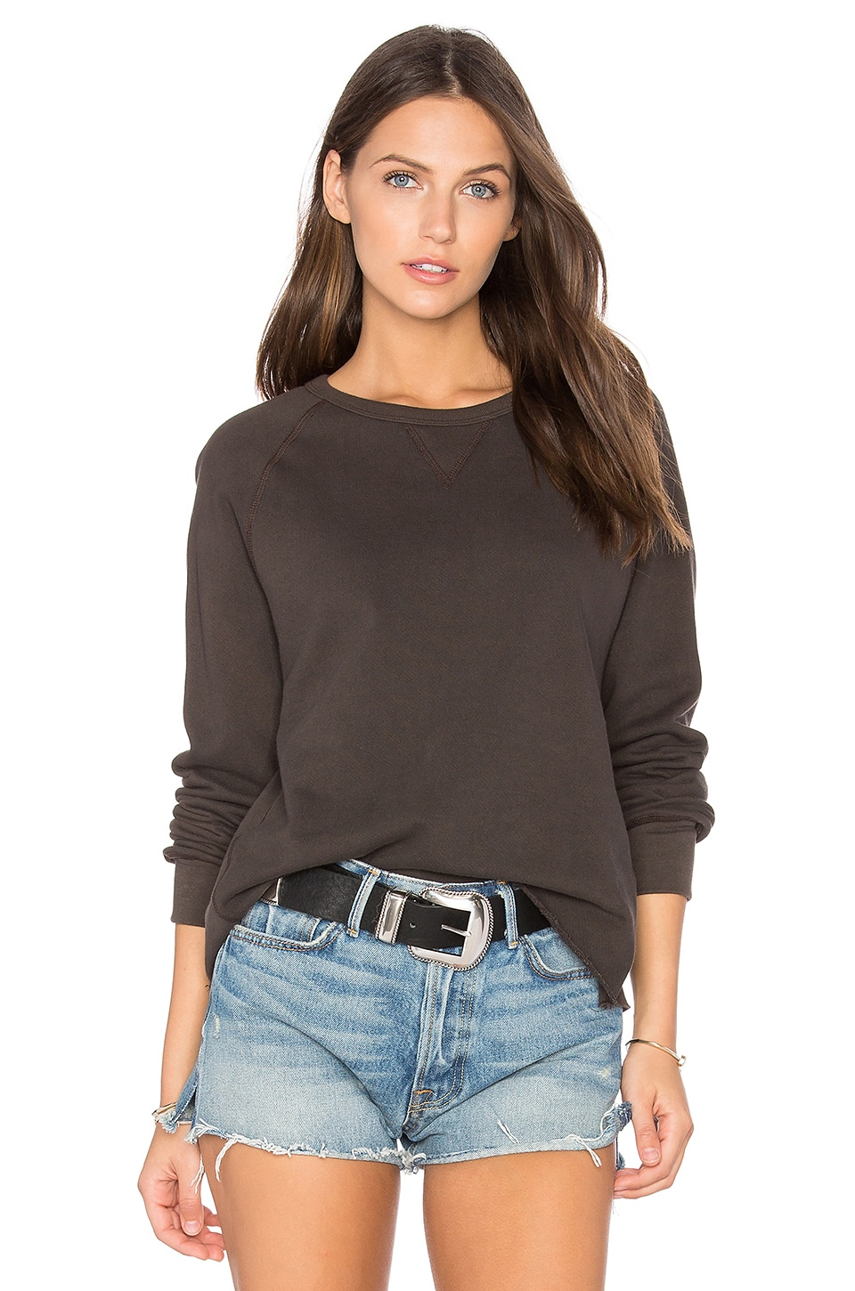 JOAH BROWN Grunge Cut Off Sweatshirt in Charcoal