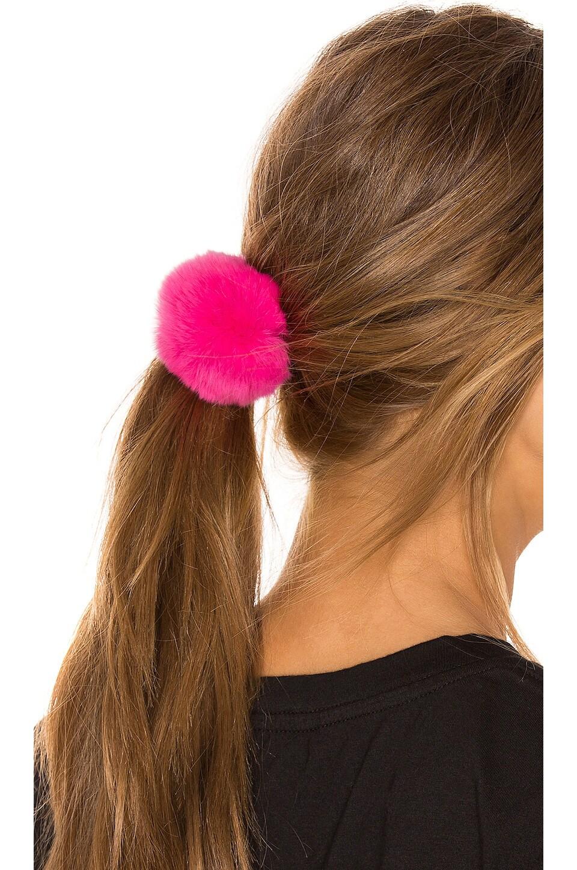 jocelyn Rex Rabbit Fur Pom Pom Hair Tie in Neon Pink