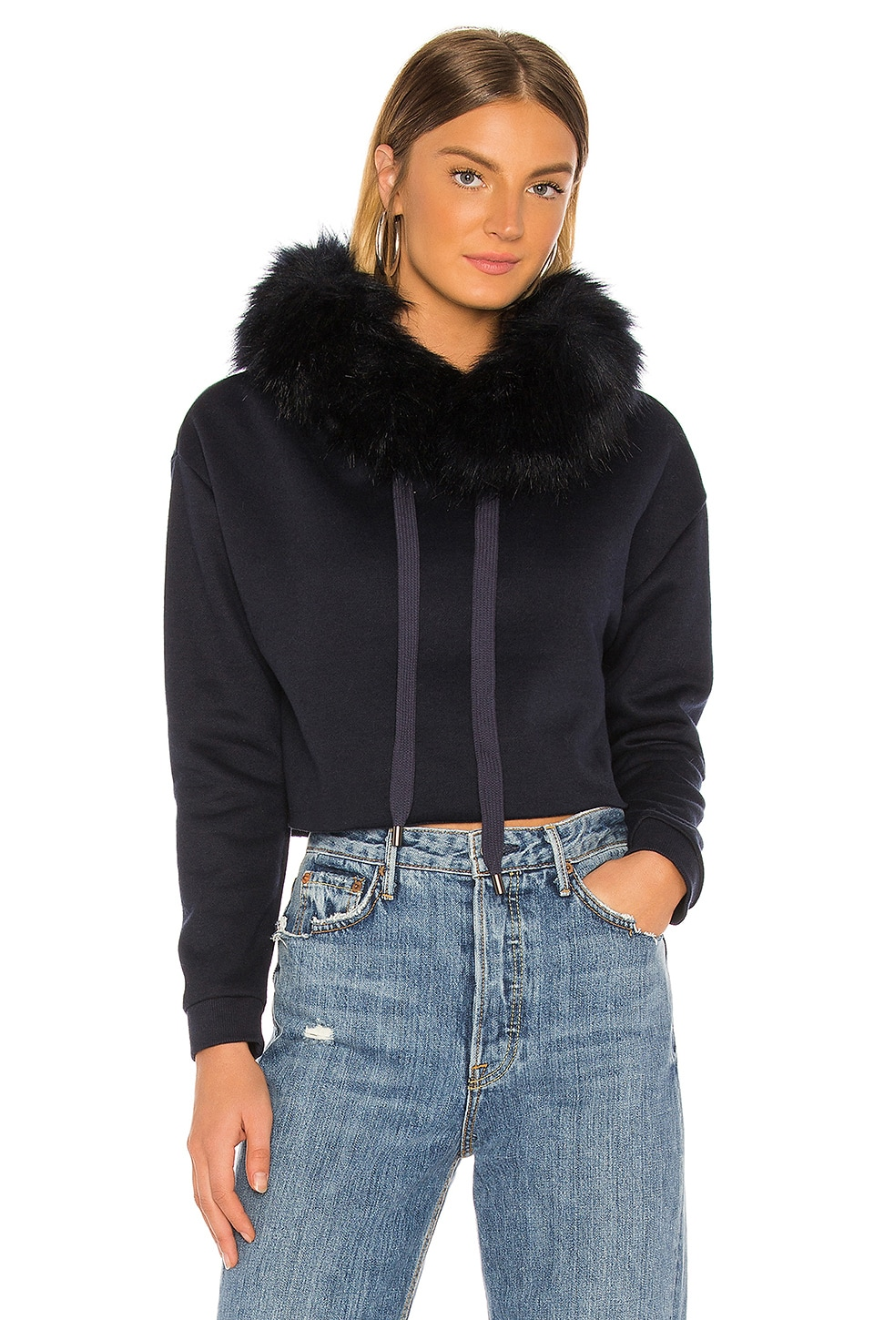 jocelyn Faux Fox Hood Trim Cropped Sweatshirt in Navy