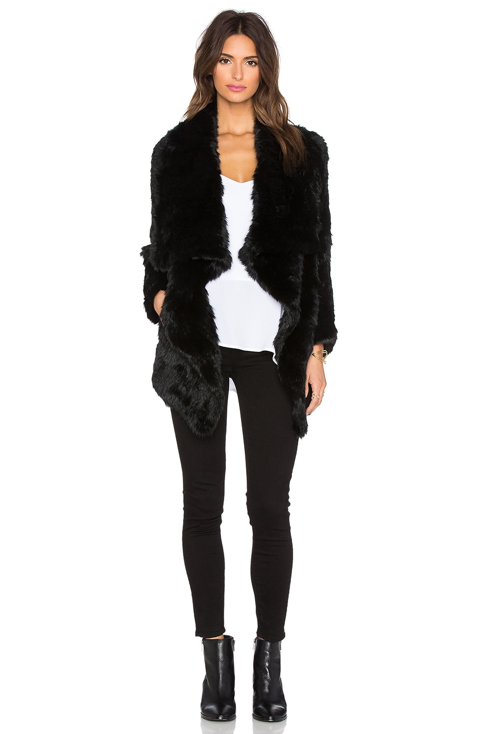 jocelyn Dyed Rabbit Fur Asymmetrical Jacket in Black