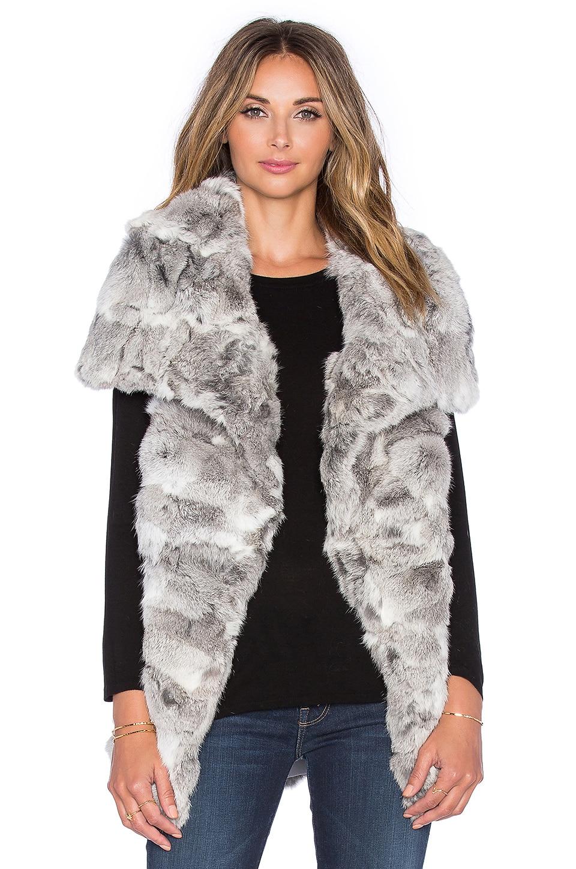 jocelyn Wing Collar Long Hair Rabbit Fur Vest in Natural Grey