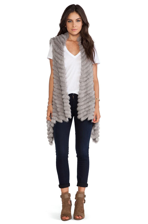 jocelyn Alicia Asymmetrical Rabbit Fur Vest in Cement