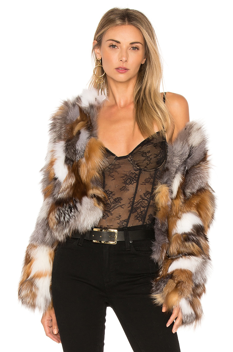 jocelyn Fox Fur Sections Jacket in Natural Multi
