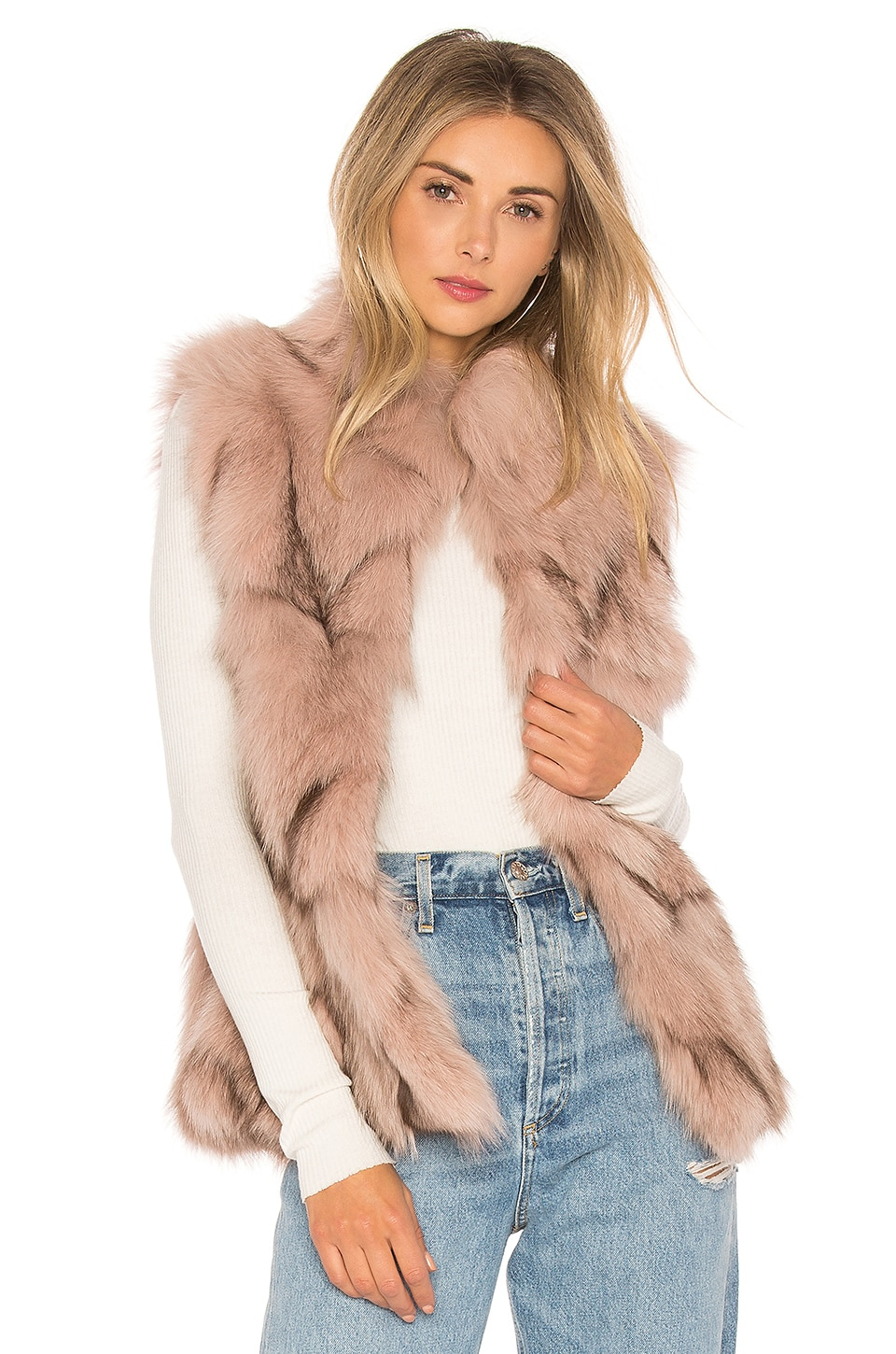 Fox Fur Sections Vest With Collar by jocelyn