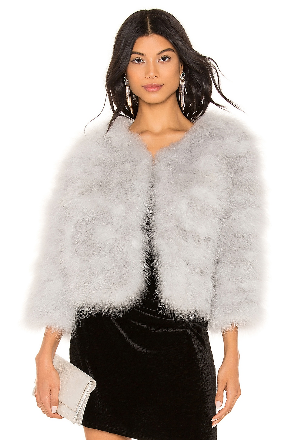 jocelyn Feather Bolero Jacket in Light Grey