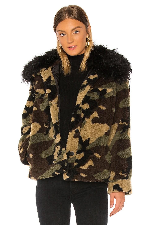 jocelyn Faux Silver Fox Detachable Collar Camo Teddy Jacket in Camo