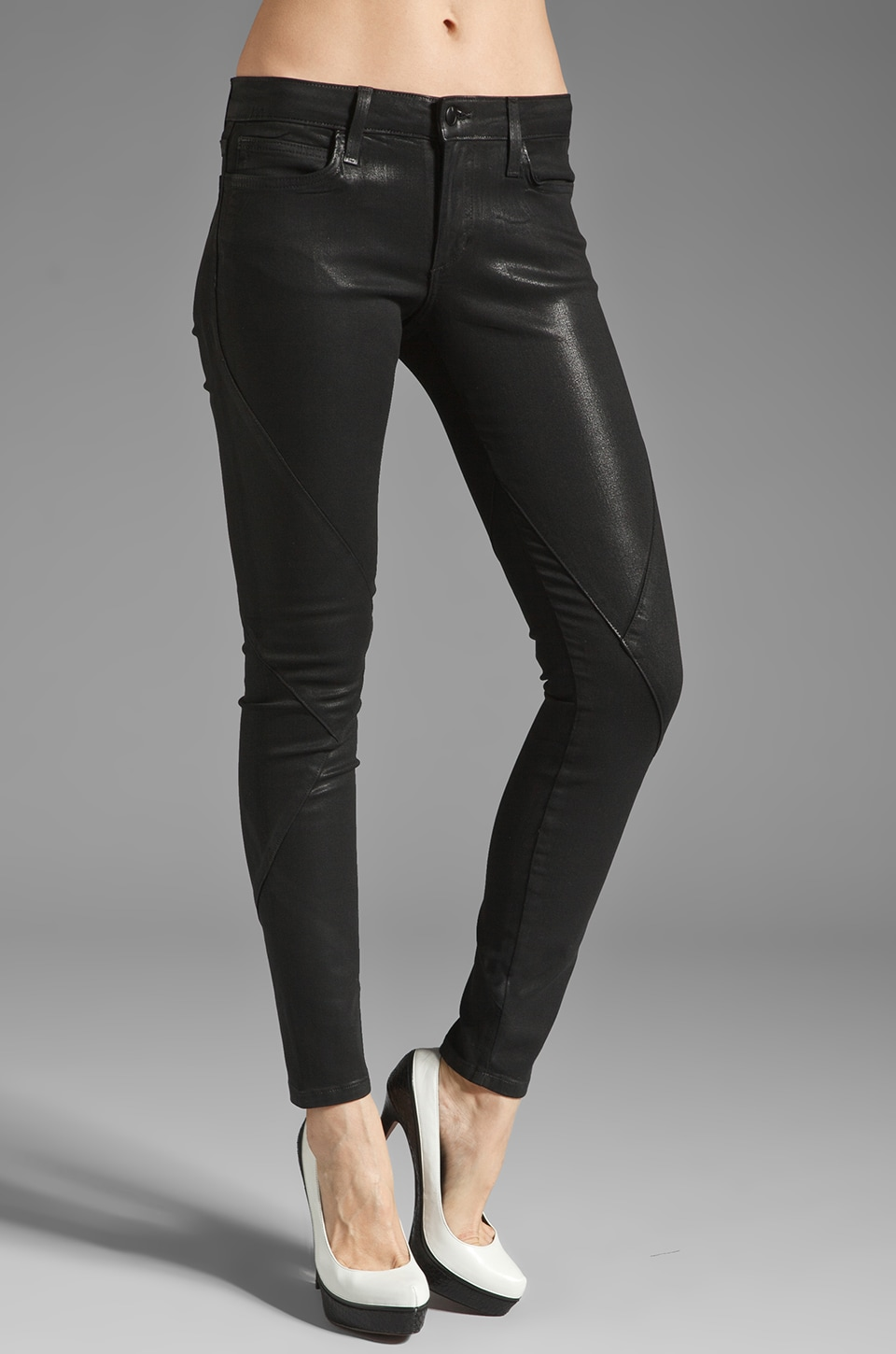 Joe's Jeans Criss Cross Seam Skinny in Coated Black