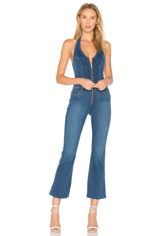 Joe's Jeans Halter Flare Jumpsuit in Medium Blue