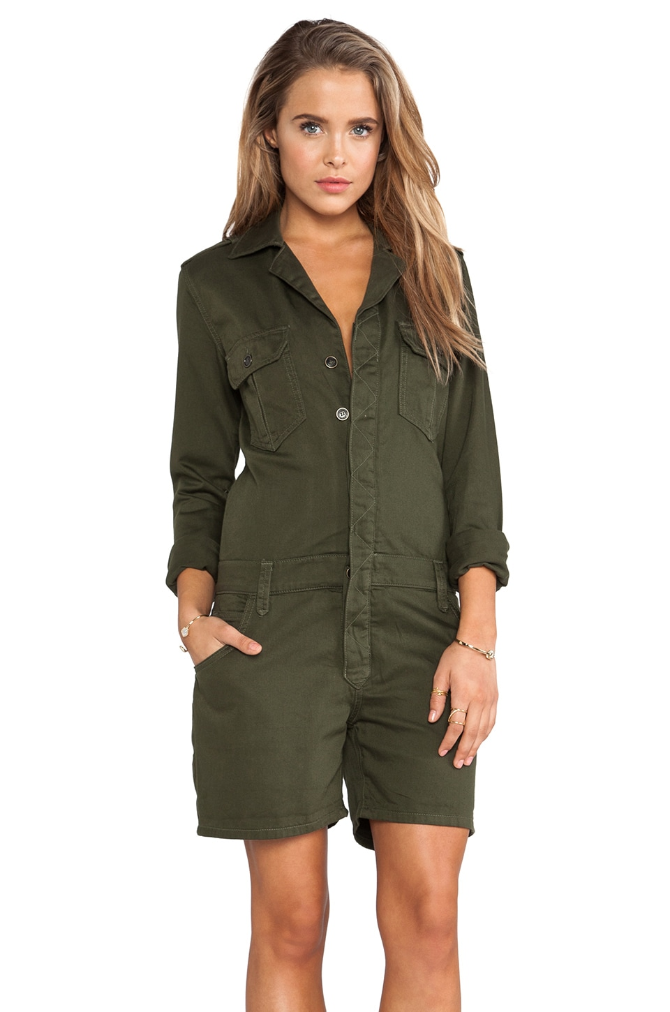 Joe's Jeans Military Shirttail Romper in Olive